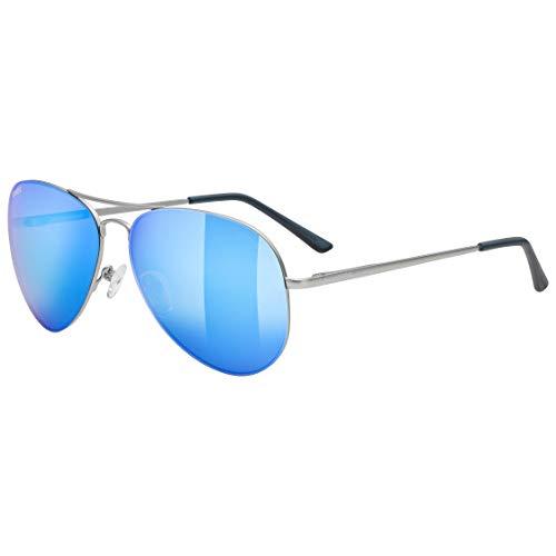 uvex Unisex– Erwachsene, lgl 45 Sonnenbrille, silver mat/mirror blue, one size