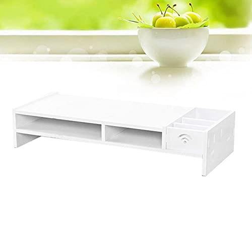 Monitor de 48CM Estante aumentado Escritorio de oficina Estante de acabado de almacenamiento Soporte de base de computadora (Blanco) -38cm, Blanco