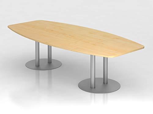 Konferenztisch 280cm Säulenfuß, Ahorn/Silber