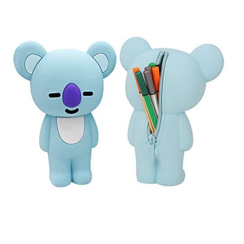 Trousse Scolaire Kawaii en Silicone Pot a Crayon pour Enfant Plumier pour Filles Garçons Sac à Crayon Créatif Sac à Stylo Mignon Pochette à Crayon pour Ecole Bureau Maison-Bleu
