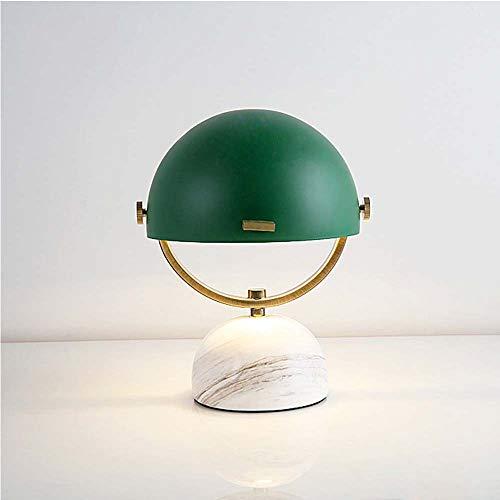 L.W.S Lámpara de Escritorio Lámpara LED Mármol Hardware Semicircular Dormitorio Restaurante Estudio Sala de Estar Bar Mesa Iluminación Luminaria Rojo Negro Verde Rojo E27 (Color : Green)