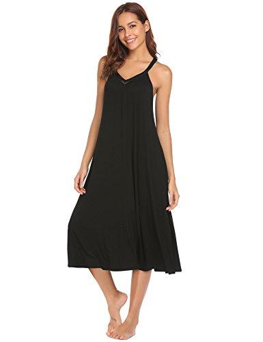 Ekouaer Racerback Nightgown V Neck Nighties Women's Sleeveless Long Nightgown Summer Slip Full Length Night Dress Soft Sleepshirt Chemise(Black,M)