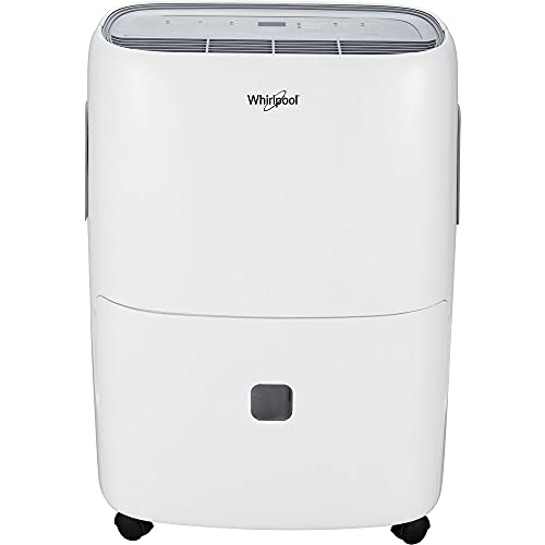 Whirlpool 50 Pint Portable Dehumidifier with Built-in Pump, 24-Hour Timer, Auto Shut-Off, Easy-Clean Filter, and Auto-Restart | for Bathrooms, Basements, and Bedrooms | WHAD50PCW