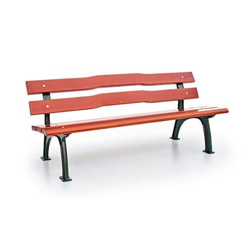 Parkbank mit Gussgestell | Geschwungen | Sitz- und Rückenfläche Fichtenholz | Gartenbank Bank Ruhebank