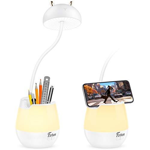 Firbon Lámpara Escritorio LED, Luz Nocturna, Lámpara de Mesa, Múltiples modos de luz, Función de bloqueo de teclas, Proteger los ojos, control táctil y rotación de 360°, Para Niños, Oficina Estudio