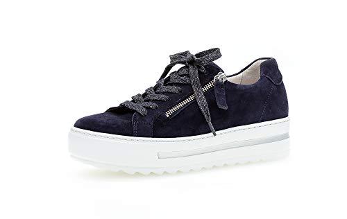 Gabor Damen Sneaker, Frauen Low-Top Sneaker,Comfort-Mehrweite,Reißverschluss,Optifit- Wechselfußbett, Lady Ladies feminin,Bluette,40.5 EU / 7 UK