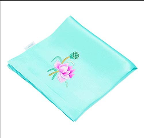 Z.L.FFLZ Embroidery Handkerchief Handkerchief Floral Ladies' Pocket Handkerchief Silk Lotus Handmade Embroidery Suzhou Embroidery Gifts (Color : Green, Size : M)