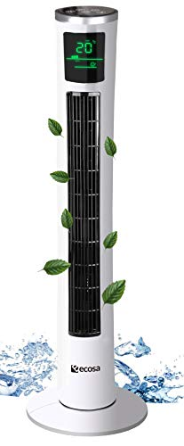 Turmventilator | 3 Stufen | <45dB | 3 Modi | 45 Watt | 12h Timer | Fernbedienung | Oszillierend | LED-Display | Tower-Ventilator | Standventilator | Säulenventilator | Luftkühler (Wisdom White)