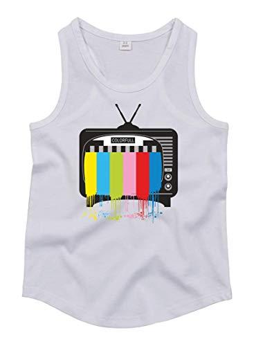 Druckerlebnis24 Camiseta de tirantes para televisor de pantalla plana unisex para niños y niñas Blanco 116 cm