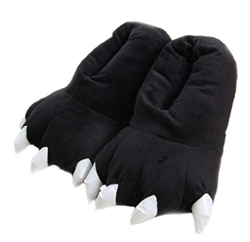 SHIXIAOSHU Cartoon Animal Claw Shoes Home Warm Shoes Neutral Soft Plush Home Slippers Claw Shoes (Large Size (EUR 40-44), Black)