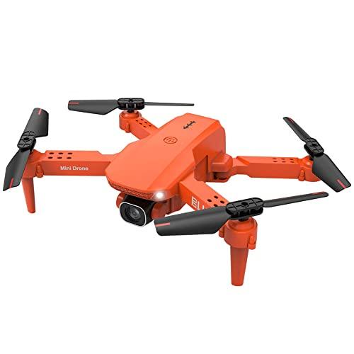 NONGLAN Mini Drone 4k HD Dual Camera Telecamera WiFi Pressione Aria FPV Altitudine Hold Pieghevole Quadcopter Rc Drone Drone Giocattolo Regalo(Color:Arancia)