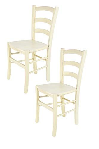 Tommychairs - 2er Set Stühle Venice für Küche und Esszimmer, robuste Struktur aus lackiertem Buchenholz in Anilinfabre Weiss und Sitzfläche aus Holz