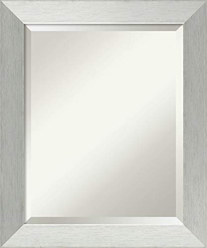 Framed Vanity Mirror   Bathroom Mirrors for Wall   Brushed Sterling Silver -