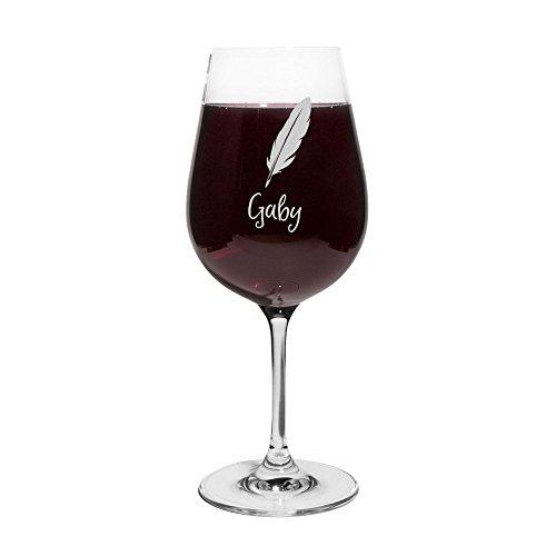 printplanet® Rotweinglas mit Namen Gaby graviert - Leonardo® Weinglas mit Gravur - Design Feder