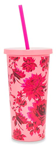 sip tumbler with straws Ban.do Pink/Red Floral Sip Sip Insulated Tumbler with Reusable Straw, 20 Ounce Travel Cup, Potpourri