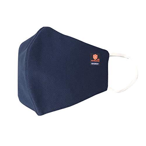 洗えるマスク3枚セット DONY MASK (大人用)  布製マスク ネイビー Lサイズ 99.9%抗菌 飛沫防止 撥水 抗菌マスク 洗える UVカット (L, ネイビー)