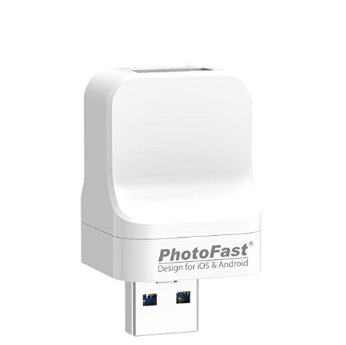 PhotoFast PhotoCube Pro (Type-A Port & Male), Auto Backup Photo Stick for iPhone, iPad & Android, External Storage Flash Drive, Photo and Data Keeper, File Organizer - SD Card Not Included