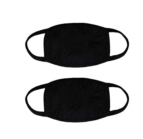 Mouth Mask, Unisex Adult Cotton Blend Ear Loop Face Mask, Anti Dust Warm Ski Cycling Safety K-pop Fashion Mask Various Use With Adjustable Ear Loops for Women Man,Black(1 Pack)