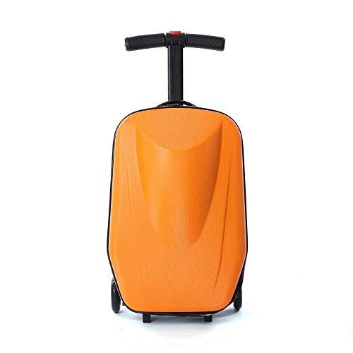 OUKANING Trolley mit eingebautem Kickboard 20 Zoll Koffer Koffer-Scooter Trolley Handgepäck Rollkoffer Roller (orange)