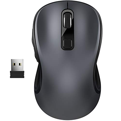 TedGem Mouse Senza Fili, 2.4 GHz Mouse Wireless Portatile, con USB Nano Receiver, 6 Pulsanti, 3 Livelli di Regolazione DPI - Super Risparmio Energetico, per Laptop, PC, Chromebook, Notebook, Grigio