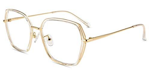 Firmoo Blue Light Blocking occhiali donna poligono, filtro luce blu vintage occhiali da computer non prescrizione, riduce il mal di testa occhiale antiriflesso occhiali per schermo