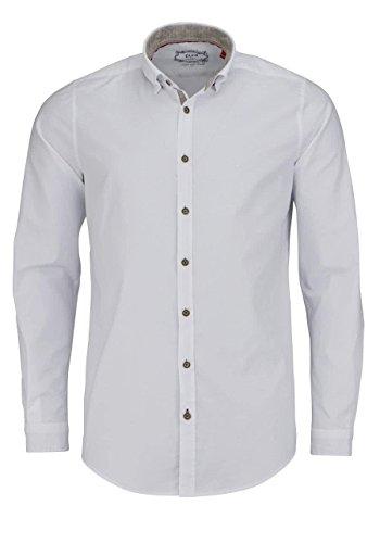 Pure Modern Fit Trachten-Hemd Langarm Button Down Kragen weiß Größe S