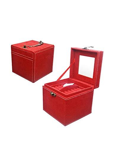 WSQJPEH888 Mode DREI-Schicht-Schmuckschatulle, Ring, Halskette, Uhr Manschette Aufbewahrungsbox Geschenk Aufbewahrungsbox, Mädchen Schmuckschatulle (Color : Red)