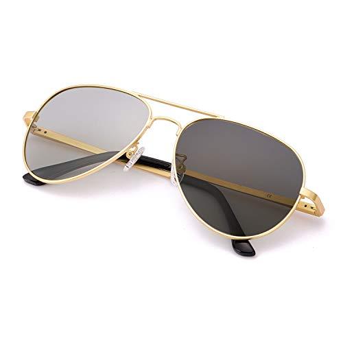 SODQW Occhiali Da Sole Uomo fotocromatici Polarizzati Metallo Telaio 100% UVA/UVB Protezione (Oro Occhiali polarizzati fotocromatici)