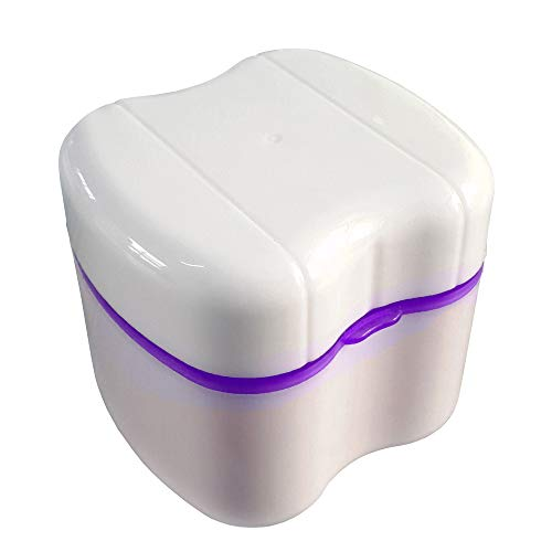 Gus Craft Lavender Purple Denture Box with Simple Retrieval Tab, Great for Dental Care, Easy to Open, Store and Retrieve (Lavender Purple)