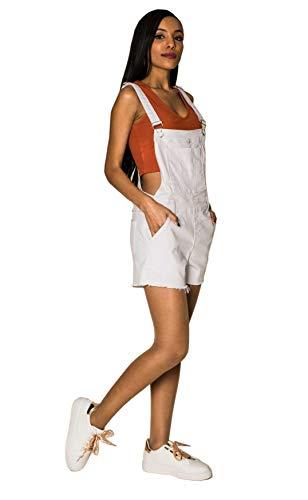 EGOMAXX Pantalones Cortos con Peto para Mujeres Jeans Shorts de Mezclilla, Color:Blanco, Talla:38