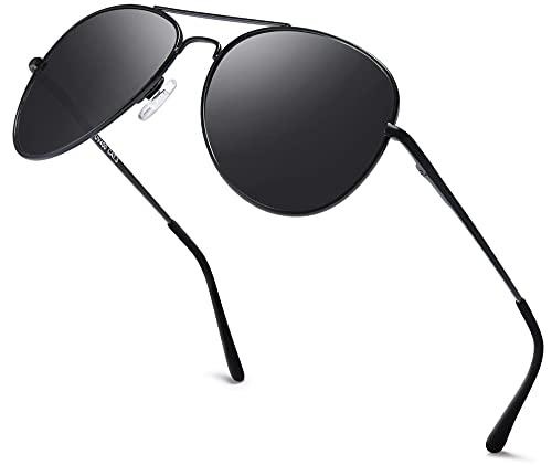 Herren Pilotenbrille Verspiegelt | Damen Sonnenbrille | Unisex Brille mit Federschrnier | UV400 Schutz Filter Kat. 3 CE (71 | Rahmen Schwarz - Glas Schwarz)