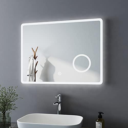 Bath-mann Specchio da bagno a LED, 90 x 70 cm, con illuminazione, luce bianca fredda, specchio da...