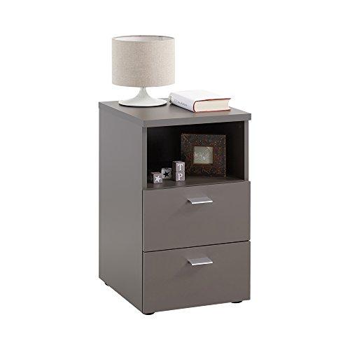 FMD furniture 652-001E, Nachtkonsole in Ausführung Lava, Maße ca. 35 x 61,5 x 40 cm (BHT), Melaminharz beschichtete Spanplatte