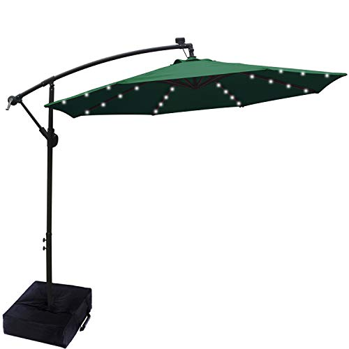ABCCANOPY 10 FT Solar Powered LED Patio Outdoor Umbrella Hanging Umbrella Cantilever Umbrella Offset Umbrella Easy Open Lift 360 Degree Rotation with 32 LED Lights (Forest Green)