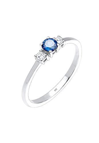 Elli Ring Elli Damen Ring Verlobungsring Zirkonia Saphirblau in 925 Sterling Silber