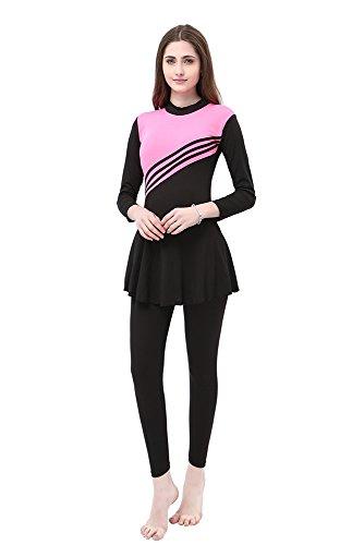 BOZEVON Damen Muslimischen Badeanzug Islamischen Full Cover Bescheidene Badebekleidung Swimwear Beachwear Burkini, Rosa, EU L=Tag XL