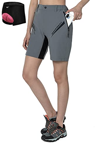 Cycorld MTB Hose Damen Fahrradhose, Mountainbike Hose mit Gepolstert, Schnelltrocknend MTB Shorts Damen Radhose Atmungsaktiv Radlerhose Outdoor Bike Shorts (Neu Grau, M)