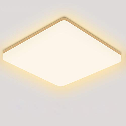 LED Deckenleuchte Warmweiß, Oeegoo LED Deckenlampe 3000K, 18W 1800lm Badleuchte, Wasserfest IP44 Küchenlampe Für Badezimmer Balkon Wohnzimmer Korridor Esszimmer Schlafzimmer Kinderzimmer