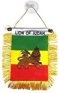 LION OF JUDAH Small 4 X 6 Inch Mini Flag Banner Rearview Mirror Lion of Judah flag Fringed Window Hanging
