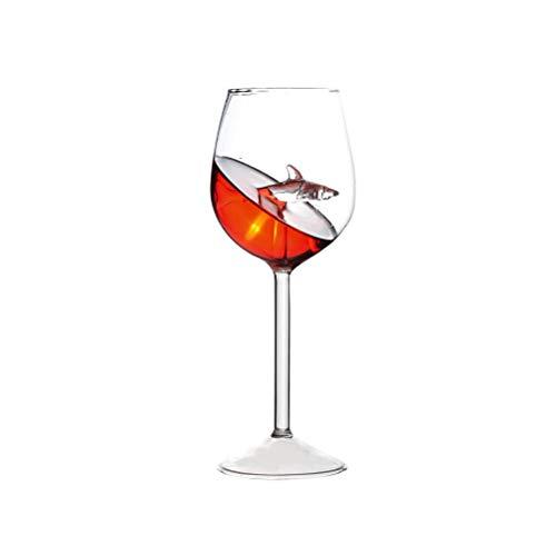 FuYouTa Copa de vino tinto Tiburón Vino Tinto Cristal Cristal Set de copas de vino de cristal hermoso tallo largo Exquisitas copas de vino grandes perfectas para regalos