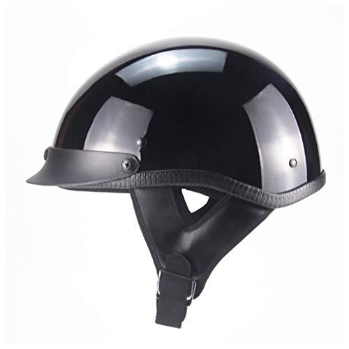 Lsrryd Casque de Moto Vintage Noir Mat Moto moitié Ouverte Casque Dot avec mentonnière (Couleur : Noir, Taille : XL(61-62CM))