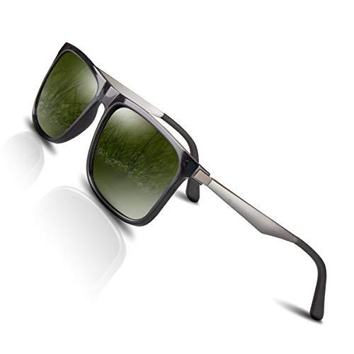 CHEREEKI Polarisierte Sonnenbrille UV400 Retro Vintage Brille für Herren und Damen (Grün)