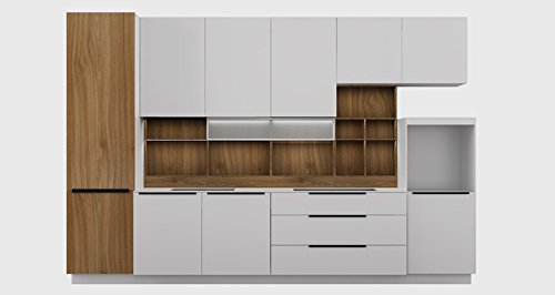OPPEIN 360cm Width Standard Kitchen Cabinet with White Lacquer Finish