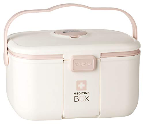 ESTETHI Medizinbox, Erste-Hilfe-Koffer 28 x 18 x 17 cm, Hausapotheke mit Tragegriff, herausnehmbarem Fach, Mundschutz-Etui