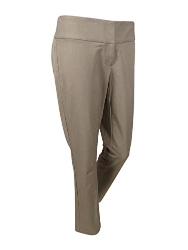 Alfani Womens Plus Tummy Slimming Flat Front Straight Leg Pants Tan 24W