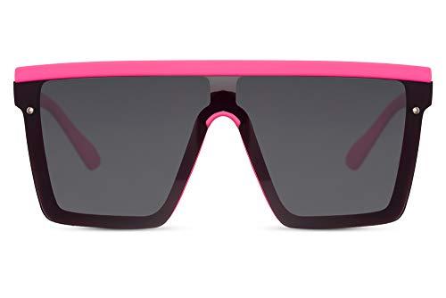 Cheapass Gafas de Sol Massive Oversize XXL Rosa Neon De Goma Seguridad Negras Lentes de Una Pieza UV400 Mujeres