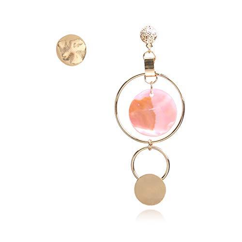 QYMX Orecchino Donna Bohem Orecchini a Bottone da Sposa Bohémien Gioielli Asimmetrici per Donna Ciondolo in Metallo di Colore Dorato con Grande Cerchio