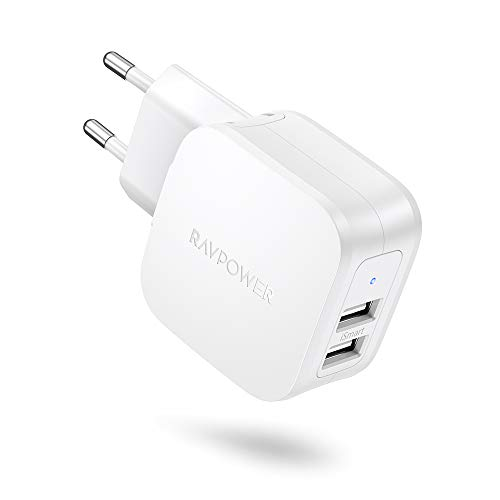RAVPower USB Ladegerät 2 Port USB Netzteil 17W 3.4A USB Ladeadapter mit iSmart Technologie für iPhone 11 Pro Max XS XR X, iPad, Galaxy S9 S8 Plus, Nexus, Huawei, Kamera, Handy, Tablette, MP3 usw.