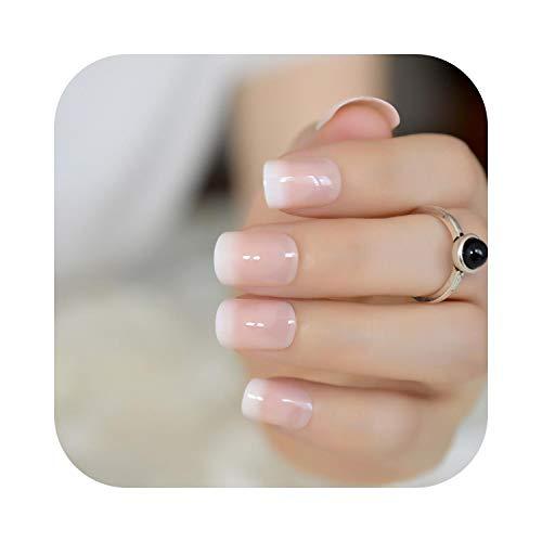 Pegatinas de couleur de uñas 24 piezas Clásico Rosa claro Clavo francés puntiagudo Simple diseñado Cabeza cuadrada Uñas de gel UV Uñas cortas y flacas con adhesivo Pegamento Z919-Z919-