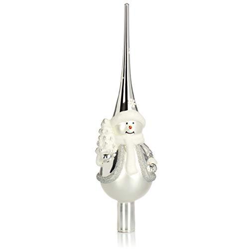 com-four® Weihnachtsbaumspitze glänzend - Christbaumspitze aus echtem Glas für Weihnachten - Tannenbaumspitze mit Schneemann, 28 cm (silberfarben)